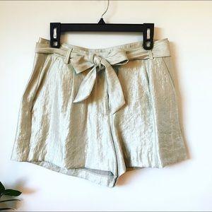 Loft Shimmer Tie Waist Shorts